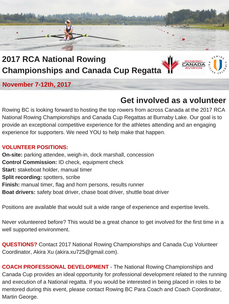 Get Involved With The 2017 National Rowing Championships And Canada Cup